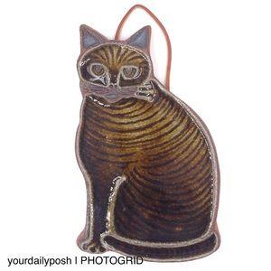 Glazed ceramic Victoria Littlejohn cat trivet art